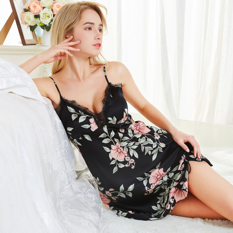 Women's Summer Sexy Slip Nightdress With Chest Pad Lace Pajamas Imitated Silk Fabric New Style Printed Short Skirt