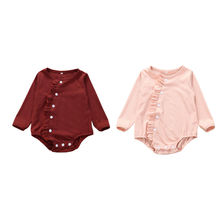 На возраст от 0 до 18 месяцев, милый комплект детской одежды для маленьких девочек с длинными рукавами и однотонные Цвет платье с оборками, хлопковое Повседневное платье боди комбинезон, костюм, детская одежда