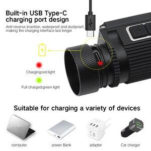 Image 4 - BORUiT B39 XM L2 + 2 * XP G2 LED Scheinwerfer Max.5000LM Wasserdichte Leistungsstarke Scheinwerfer TYPE C Wiederaufladbare 21700 Kopf Taschenlampe für Camping