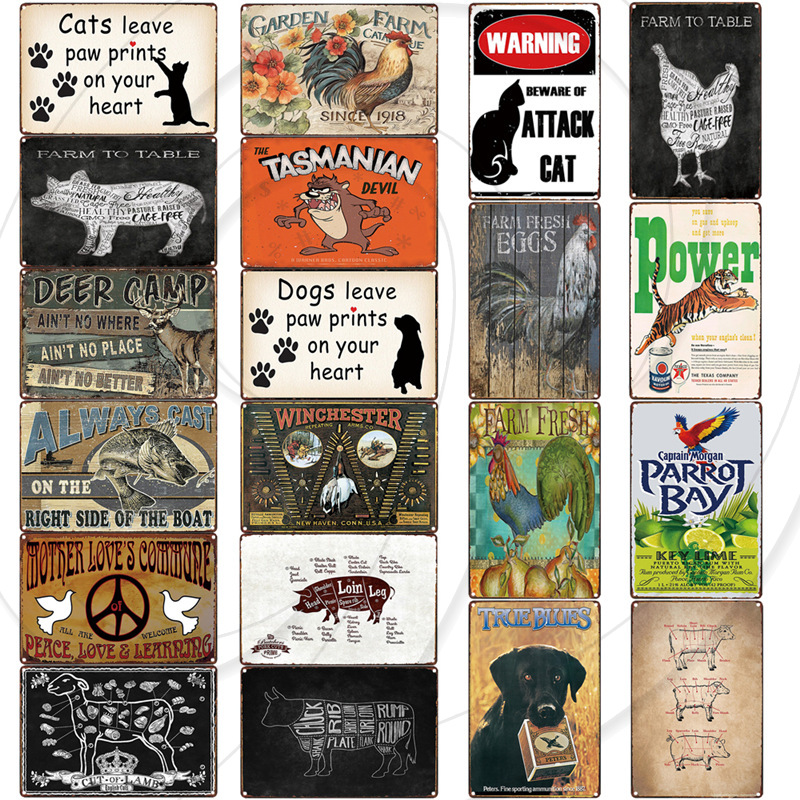 Retro Metal Poster Bar Pub Coffee Vintage Plaque Signs Man Cave Garage Wall Sticker Home Decor Farmhouse Wall Art Painting image