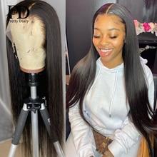 HD прозрачные длинные 30 40 дюймов прямые 13x6 кружевные передние человеческие волосы парики бразильские 250 плотность фронтальные парики для че...