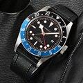Corgeut люксовый бренд  черный циферблат GMT  Мужские автоматические механические часы  военные спортивные часы для плавания  кожаные механичес...