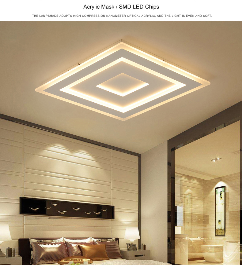 Hb85b689048bd4ffca03cca5adf8fd4f8j Surface Mounted Modern Led Ceiling Lights for living room bedroom Ultra-thin lamparas de techo Rectangle Ceiling lamp fixtures