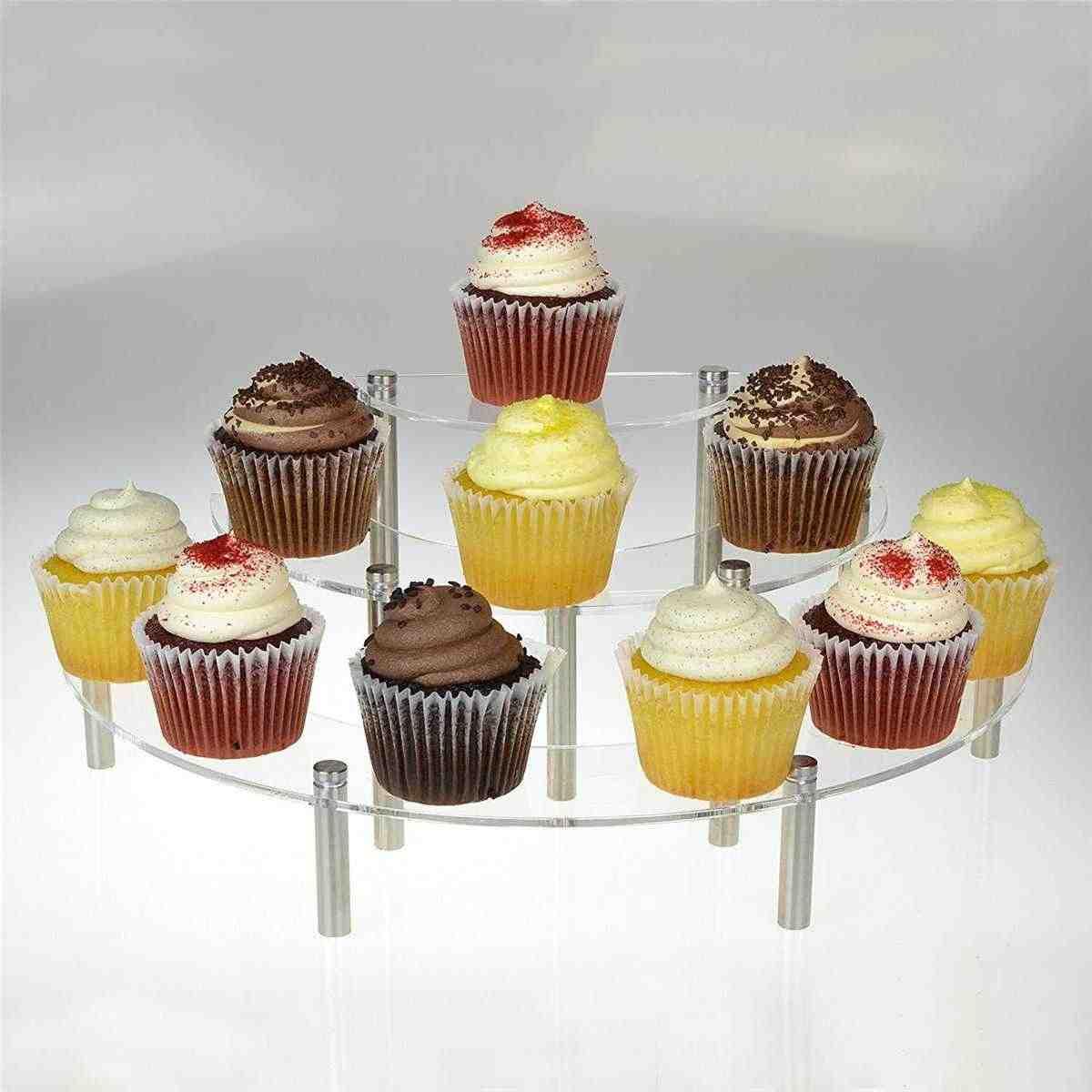 Soporte de 3 niveles de acrílico para Tartas, soporte de cupcakes duradero, expositor de postre, bandeja para servir magdalenas, estante para bodas, fiesta de cumpleaños, panadería