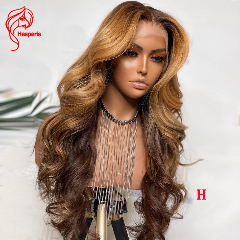Hesperis 13*6 Deep Part Lace Front Human Hair Wigs Brazilian Remy Honey Blonde Ombre Human Hair Wigs Bleached Knots For Women