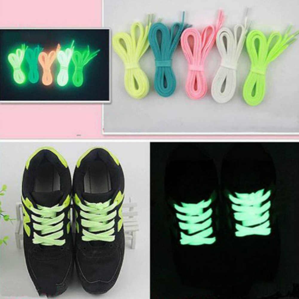 Aydınlık ayakabı atletik spor düz kanvas ayakkabı bağcıkları kızdırma karanlık gece renkte floresan ayakkabı bağı