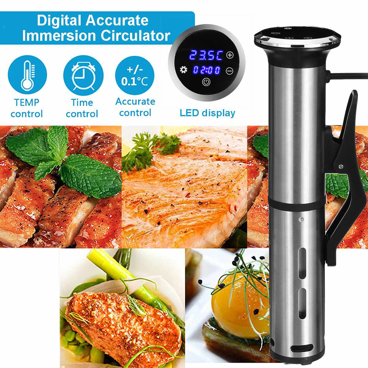 2100W Vacuum Slow Sous Vide Food Cooker LED Immersion Circulator Accurate Temperature Timer Waterproof IPX7 Stainless Steel