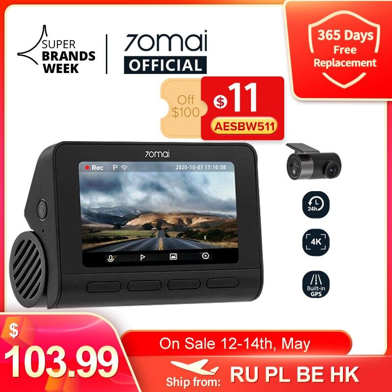70mai Dash Cam 4K A800S двойной прицел 70mai A800S GPS ADAS спереди и сзади Видеорегистраторы для автомобилей 2160P 4K 24 часа в сутки парковка 140FOV