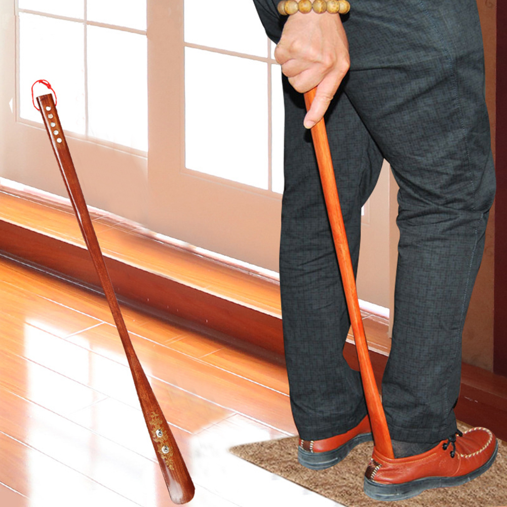 Wooden Home 55cm Lifter Practical Red Durable Long Handle Useful Hanging Loop Stick Shoe Horn Portable Flexible