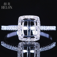 HELON Emerald cut 5X7mm Sterling Silver 925 Pave AAA Graded Cubic Zirconia Semi Mount Ring Setting Women Trendy Jewelry Gift