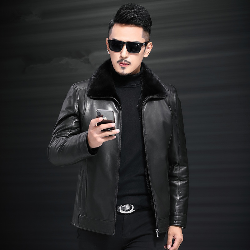 Genuine Leather Jacket Natural Mink Fur Liner Coat Winter Jacket Men Goatskin Coat Jacket Chaqueta JLK18GT1881 MY1348