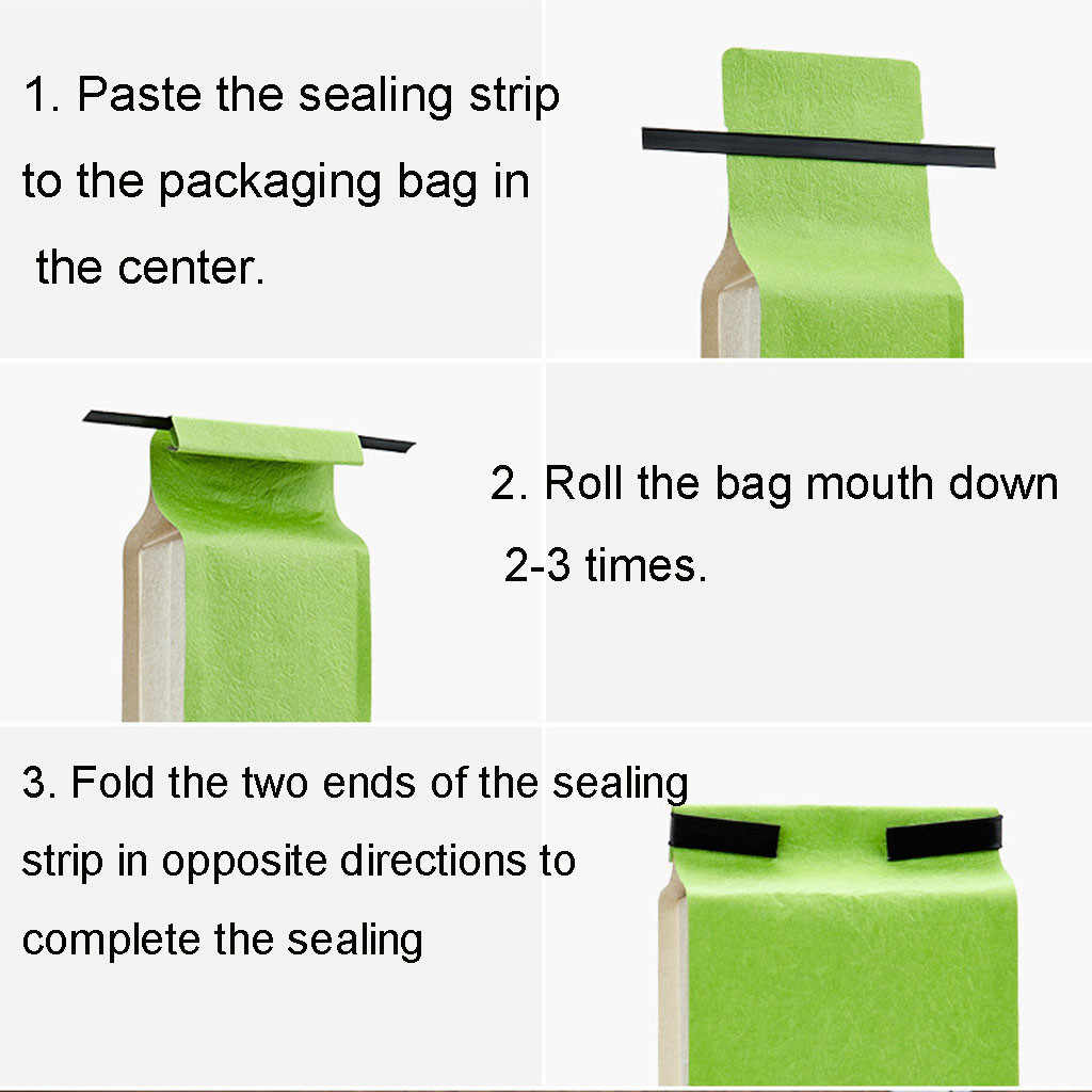 100PCS Reusable Side Zipper Sealing Strips Plastic Durable Natural Peel Stick Tin Ties, Coffee Bag Ties for Household 14CM