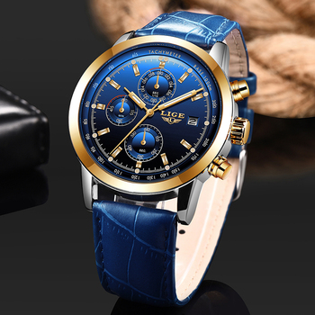 LIGE Mens Watches Top Brand Luxury Chronograph Men Watch Leather Luxury Waterproof Sport Watch Men Male Clock Man Wristwatch mens watches top brand luxury gold blue men watch quartz sport watch male clock man military waterproof wristwatch relogio