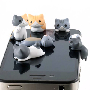 1PCs Cute Cheese Cats 3.5mm Anti Dust Dirt-resistant Earphone Jack Plug Adapter To Phone Stopper Cap for Iphone Random Color