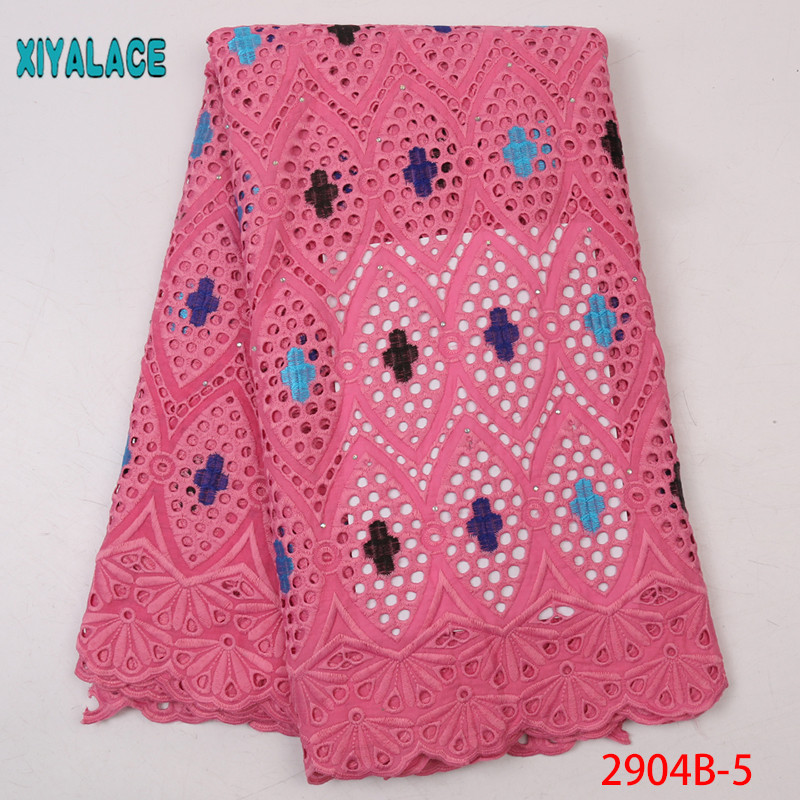 African Embroderie Fabric Swiss Voile Lace In Switzerland High Quality 2019 Dry Lace With Diamond For Dresses 2904B-5