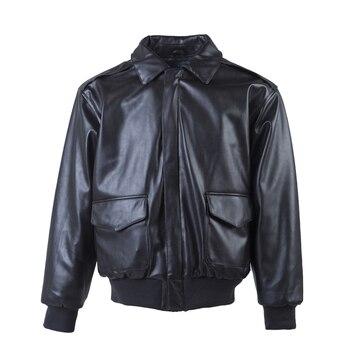 Men's Pilot Leather Jackets Motorcycle Jacket Casual Slim Genuine Leather Jacket Black Classic Bomber Flight Jacket EU/US Size
