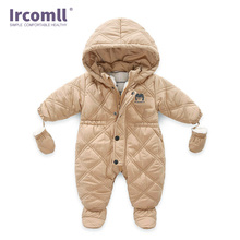 Ircomll Thick Warm Infant Baby Jumpsuit Hooded Inside Fleece Boy Girl Winter Autumn Overalls Children Outerwear Kids Snowsuit baby winter clothes cartoon dog thick warm toddler boy girl romper hooded jumpsuit children snowsuit down kids clothing