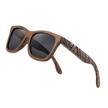 Gafas de sol de diseño tallado JANGOUL, gafas de sol clásicas de madera de bambú, gafas de sol naturales para hombres y mujeres, gafas Retro hechas a mano TA05