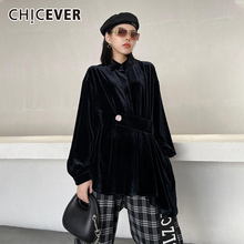 CHICEVER Velour Shirts For Women Lapel Long Sleeve Patchwork Lace Up Loose Oversized