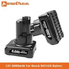 6.0Ah Substituição para Bosch 10.8V/12V Batttery BAT411 BAT411A BAT412 BAT412A BAT413 BAT413A BAT414 D-70745 2607336013 26073360