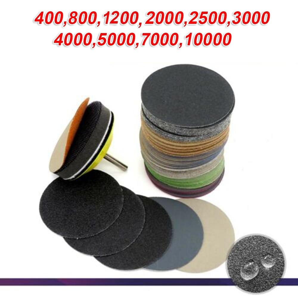 50Pcs 3Inch 75mm Sanding Discs Wet & Dry Flocking Sandpapers 400/800/1500/2000/2500/3000/4000/5000 / 7000/10000 Grit