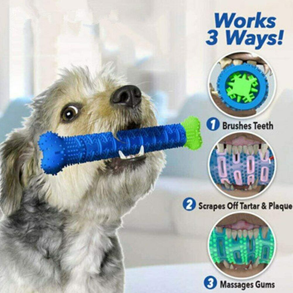 Dog Toothbrush Chew Doggy Toy Soft Rubber Teeth Cleaning Dot Massage Toothpaste Puppy Brush Molar Stick Pet Dental Care Supplies image