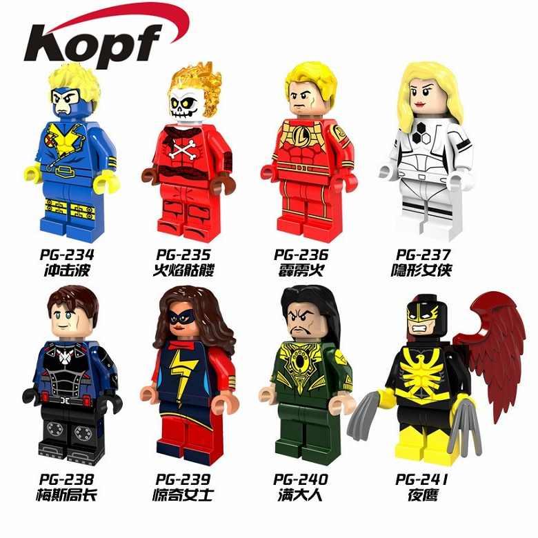 Única venda havok invisível mulher comissário maes mandarin fogo crânio super heróis blocos de construção crianças presente brinquedos pg8065
