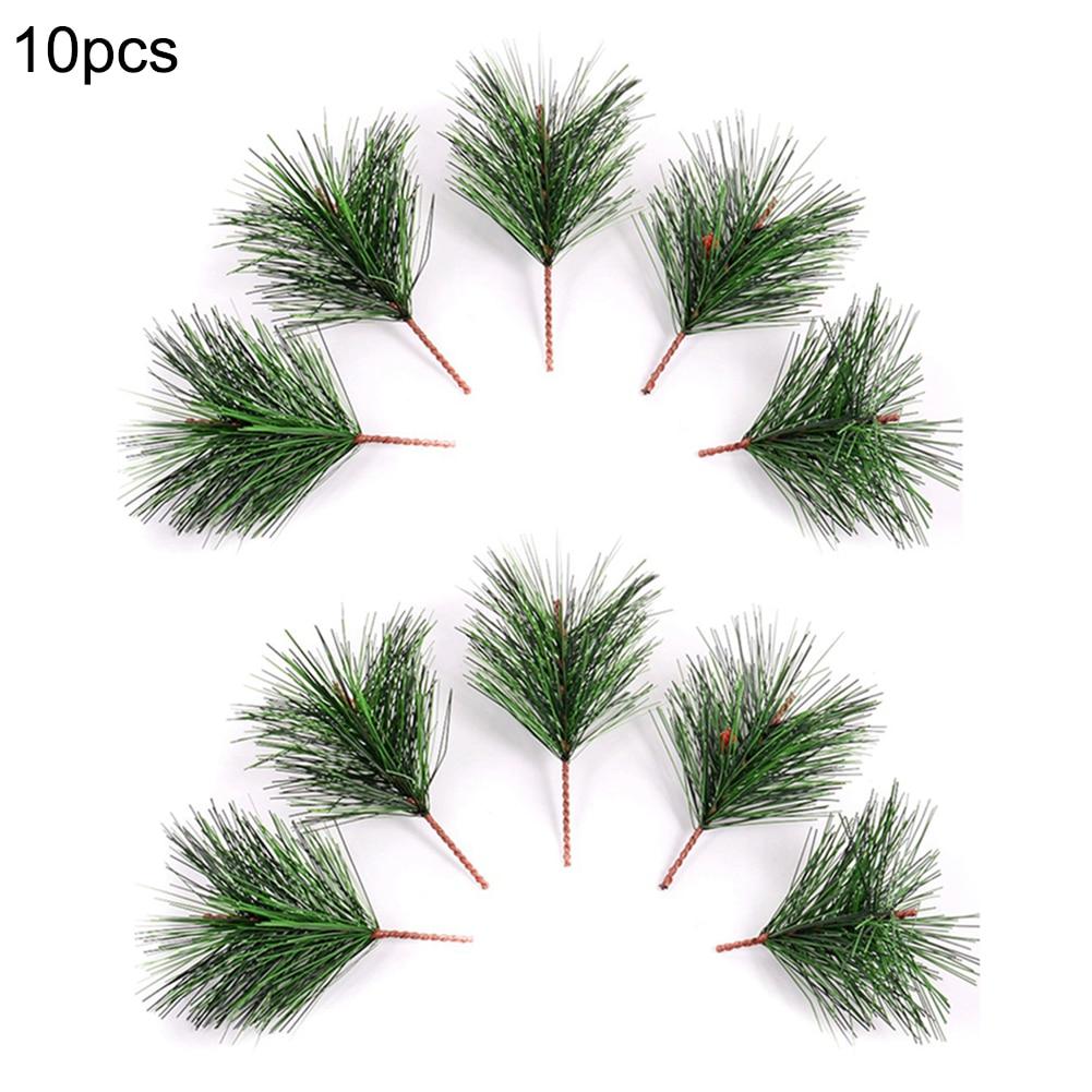 1/10PCS Kunstmatige Groen Dennennaald voor Bruiloft Kerst Decoratie DIY Craft Gift Xmas Tree Decor - 2