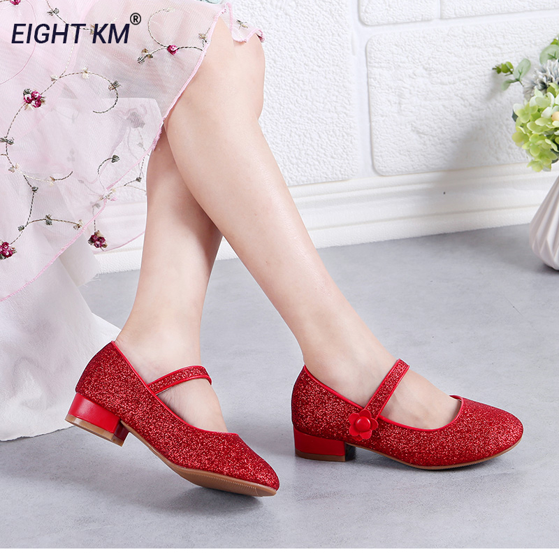 Eight KM Children Elegant Princess Low-Heeled Sandals Kids Wedding Dress Dance Party Fashion Shoes For Girl Shinning With Flower
