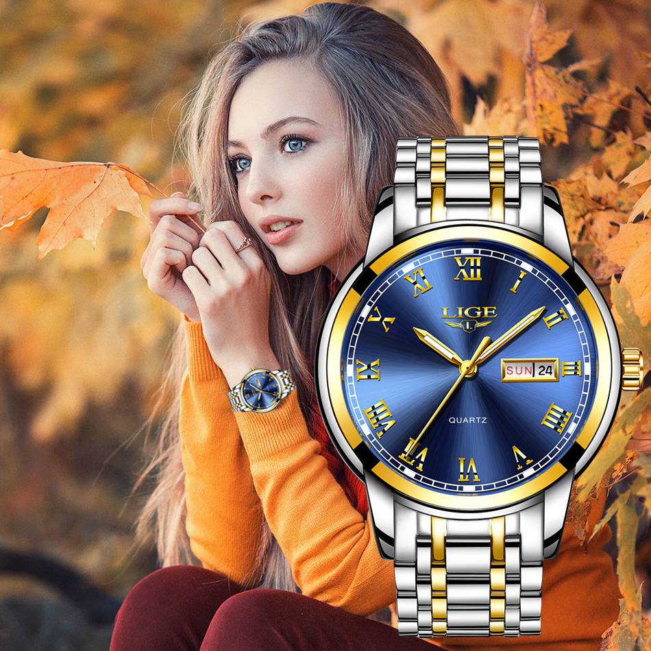 LIGE Couple Watch Gold Blue Watch Women Quartz Watches Ladies Top Brand Luxury Female WristWatch Girl Clock Relogio Feminino+Box