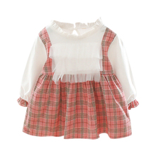Autumn New Baby Girl Dress 0-3T Lovely Toddler Plaid Pattern Fashion Cute Lace Stitching Fake Two-piece #m