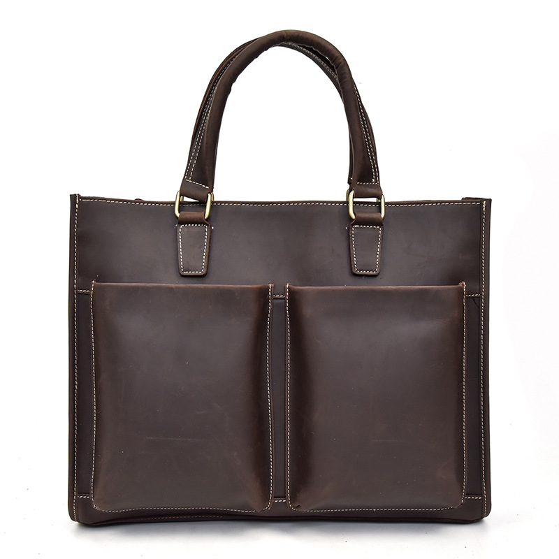 Genuine Leather Cow Skin Men Solid Casual Briefcase Laptop Handbags