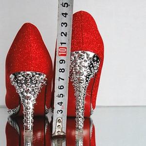 Image 3 - Kristal Vrouwen Trouwschoenen Vrouw Bruids Avondfeest Rode Hoge Hakken Schoenen Sexy Vrouwen Pompen Glitter Witte Bruids Schoenen