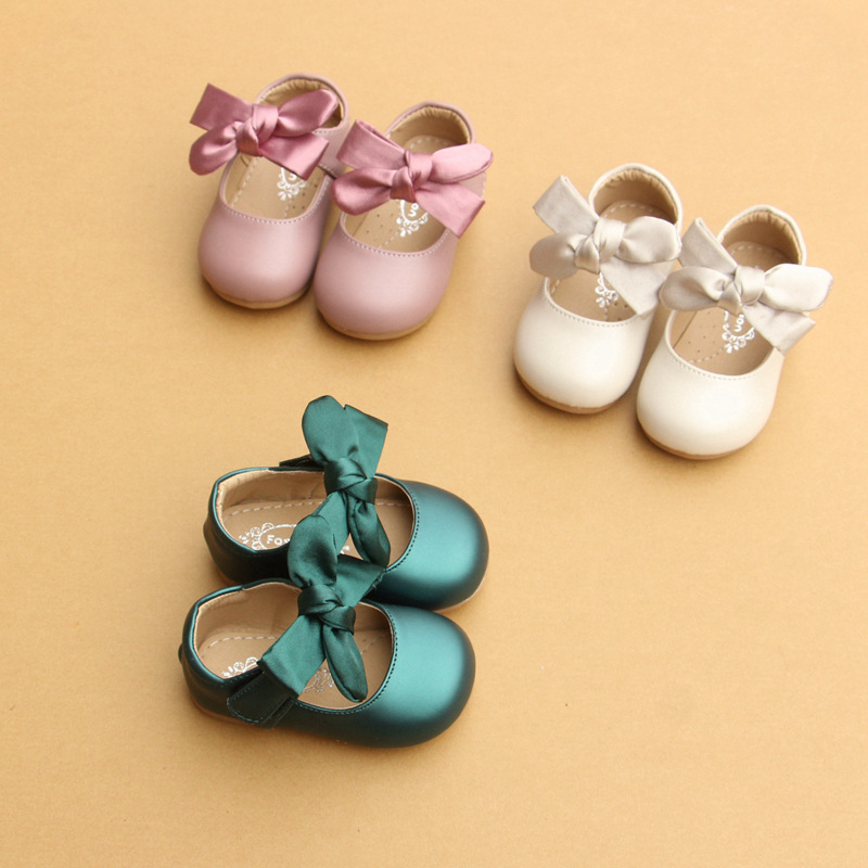 Baby Girl Anti-Slip Soft Shoes With PU Leather Solid Color Bowknot Round For Newborn Toddler Girl