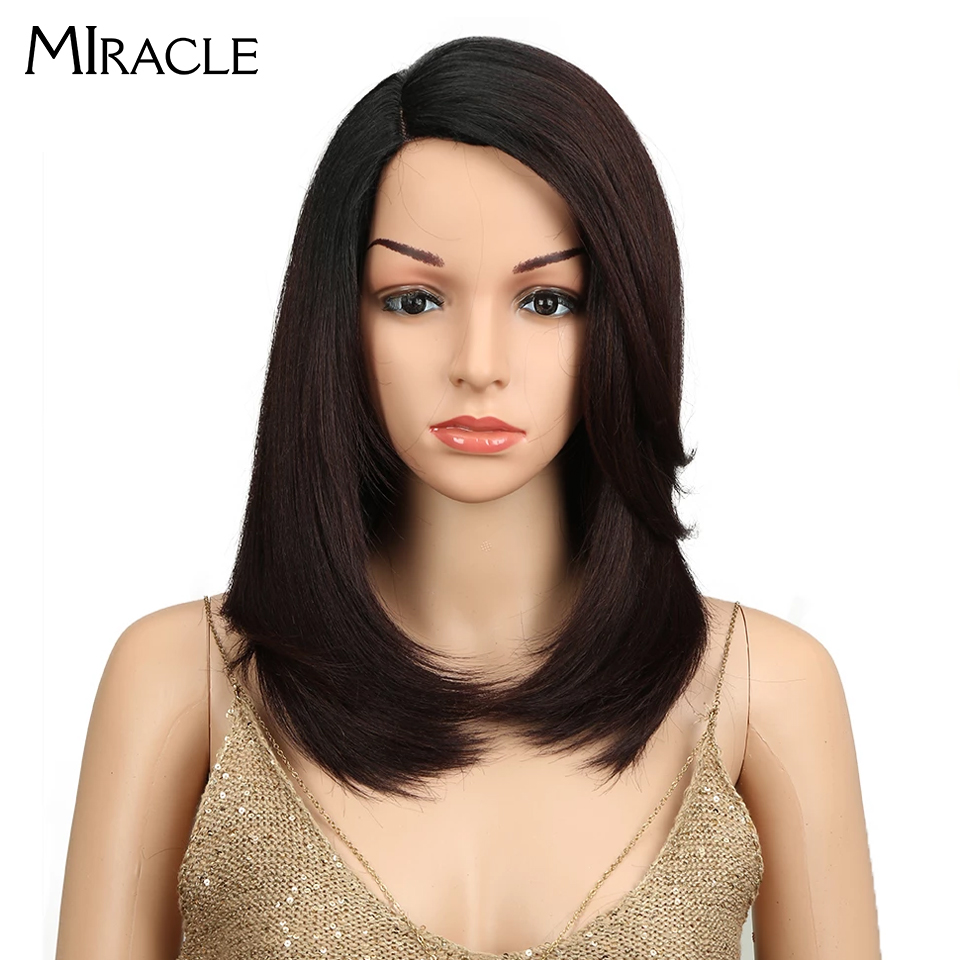 Miracle Long Straight Wig With Bangs Side Fringe Lace Part 18 Inch Ombre Black To Brown Heat Resistant Synthetic Wigs For Women