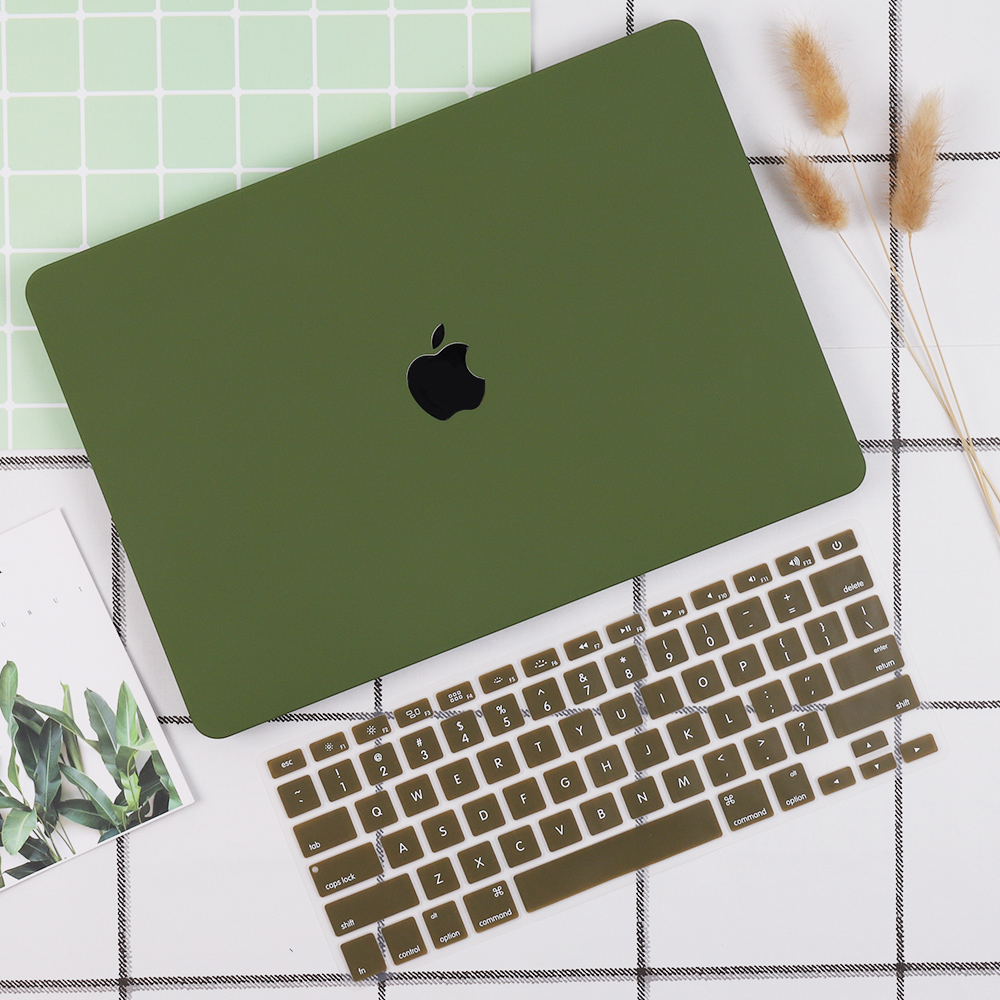 Matte Green Laptop Case For Apple MacBook Air 13 2019 Touch ID A1932 Pro 13 15 Touch Bar A2159 A1706 A1707 With Keyboard Cover