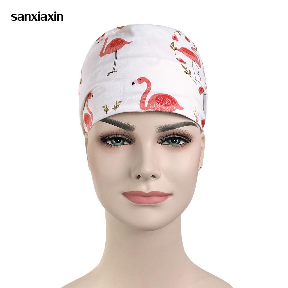 Wholesale Cartoon Printing Medical Hospital Laser Eye Operating Room Work Cap Elastic Bandage Unisex Surgical Nurse Doctor Hat
