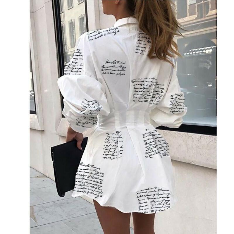 Meihuida Summer Autumn Women Long Sleeve Mini Shirt Dress Button V Neck Three Quarter Sleeve Waist Collection Blouses Dress 1
