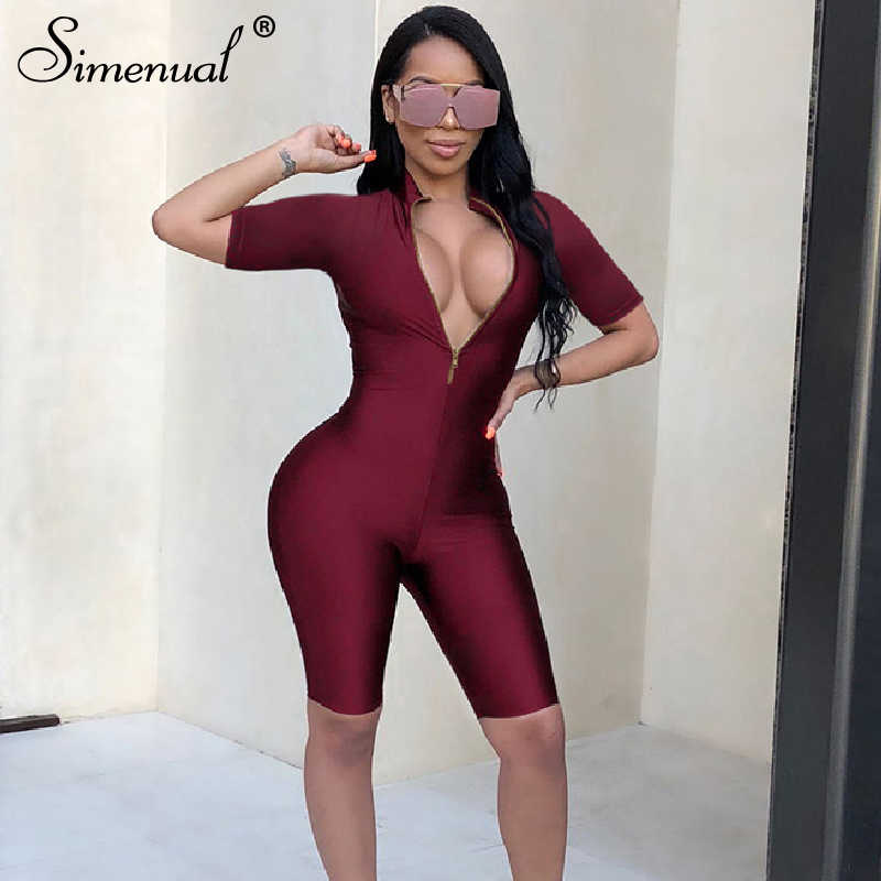 Simenual Fitness Workout Sport Wear Strampler Frauen Overall Zipper V-ausschnitt Mode Feste Aktive Tragen Biker Shorts Playsuits 2019