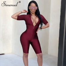 Simenual Fitness Workout Sports Wear Rompers Womens Jumpsuit Zipper V Neck Fashion Solid Active Wear Biker Shorts Playsuits 2019
