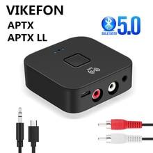 Bluetooth 5.0 RCA ses alıcısı APTX LL 3.5mm 3.5 AUX Jack müzik kablosuz adaptörü ile Mic NFC araba için TV hoparlörler otomatik açık/kapalı