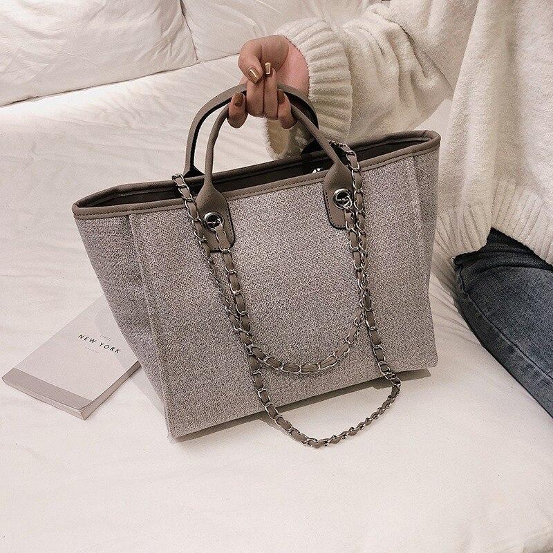 High Quality Women Canvas Handbags Large Capacity Chain Ladies Shoulder Bag 2020 Fashion Casual Female Messenger Tote Bags