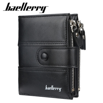 2020 New Business Men Wallets Double Zipper Card Holder High Quality Male Purse PU Leather Vintage Coin