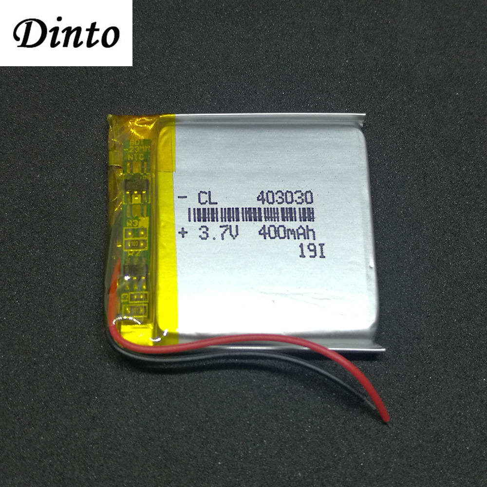 Dinto 403030 Rechargeable <font><b>3.7V</b></font> 400mAh Li-Polymer <font><b>Battery</b></font> Li-ion Lithium <font><b>Batteries</b></font> <font><b>Lipo</b></font> Cells for MP3 MP4 GPS Detector Watch image