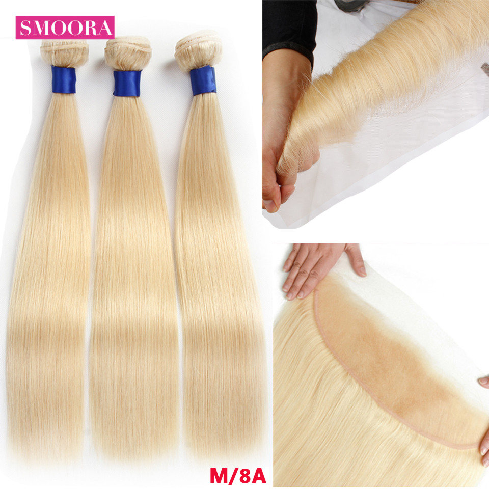 613 Blonde Bundles With Frontal 13*4  Peruvian Straight Human Hair Remy Ombre 3 Bundles Hair With Frontal T1B/27 30 99J Burgundy