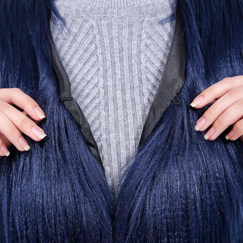Płaszcz ze sztucznego futra kobiet futrzana kamizelka kurtka damska bez rękawów biały płaszcz Femme futro kamizelka odzież damska Abrigos Mujer KJ309