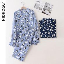 Mens Pajamas Sleepwear Nightwear Cartoon Cute Autumn Turn-Down-Collar Lapel Printing