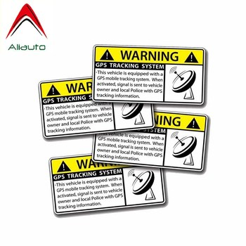 Aliauto 4 X Warning Car Stickers Gps Tracking System Accessories PVC Decal for Infiniti Peugeot 308 Kia Rio Opel Astra,10cm*4cm image