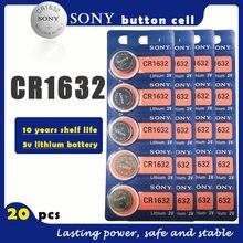 20 pçs/lote sony original cr1632 botão, célula de bateria 3v baterias de lítio cr 1632 para relógio, controle remoto, brinquedo, computador, calculadora controle de controle