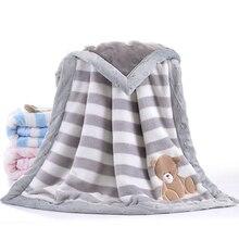 Двухслойное утепленное детское одеяло, зимнее теплое, 75x100 см, детское Фланелевое Пеленальное Одеяло для новорожденных